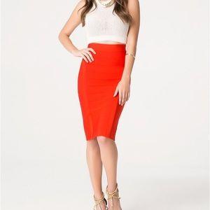Bebe Red Bandage Skirt